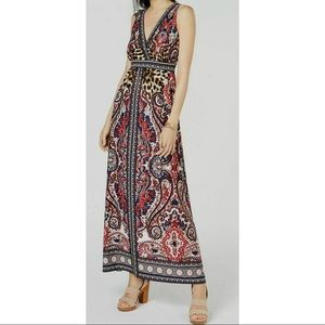 New INC paisley & leopard print v neck maxi dress